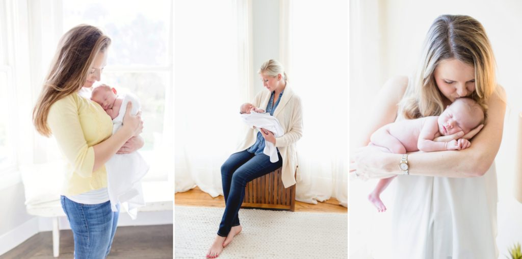 San Francisco moms holding their newborn babies for professional newborn portraits taken in-home
