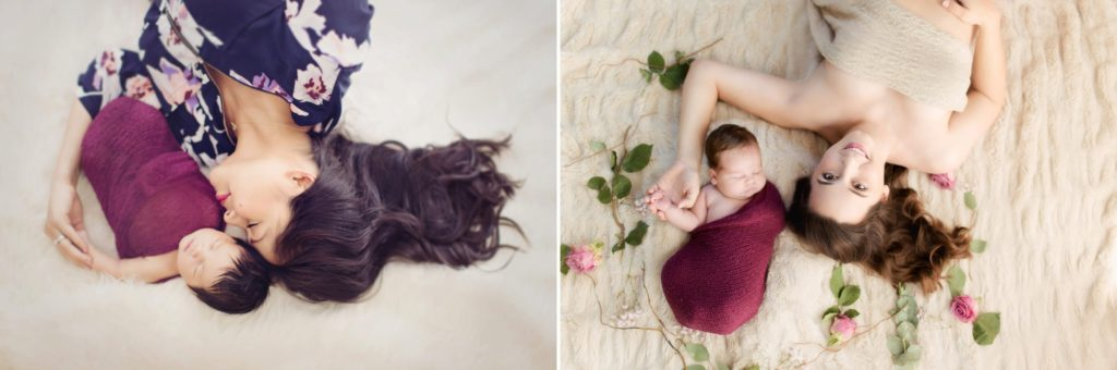 Mother and baby professional newborn portraits taken laying down