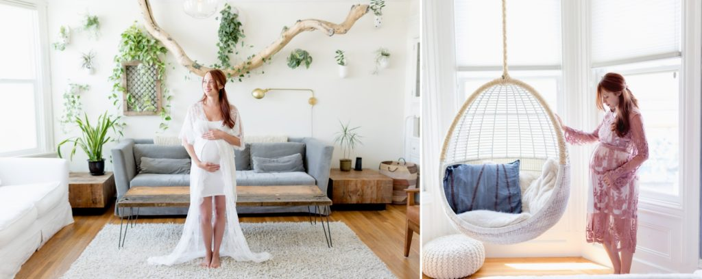 Urban home decor for minimalist maternity portraits