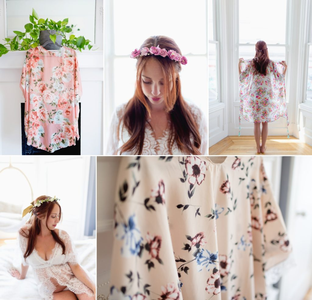 photographs of trendy floral kimono for womens maternity fashion
