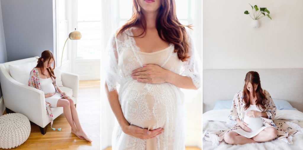 Photographs that example what a woman should wear for maternity portraits