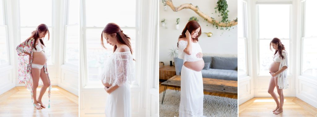 Maternity portraits of a woman with pregnant belly showing