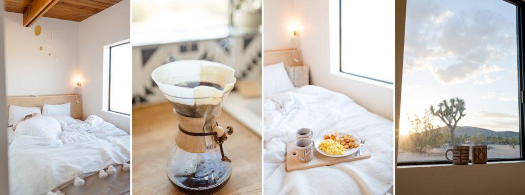 Cozy breakfast in bed in joshua tree in a trendy joshua tree home