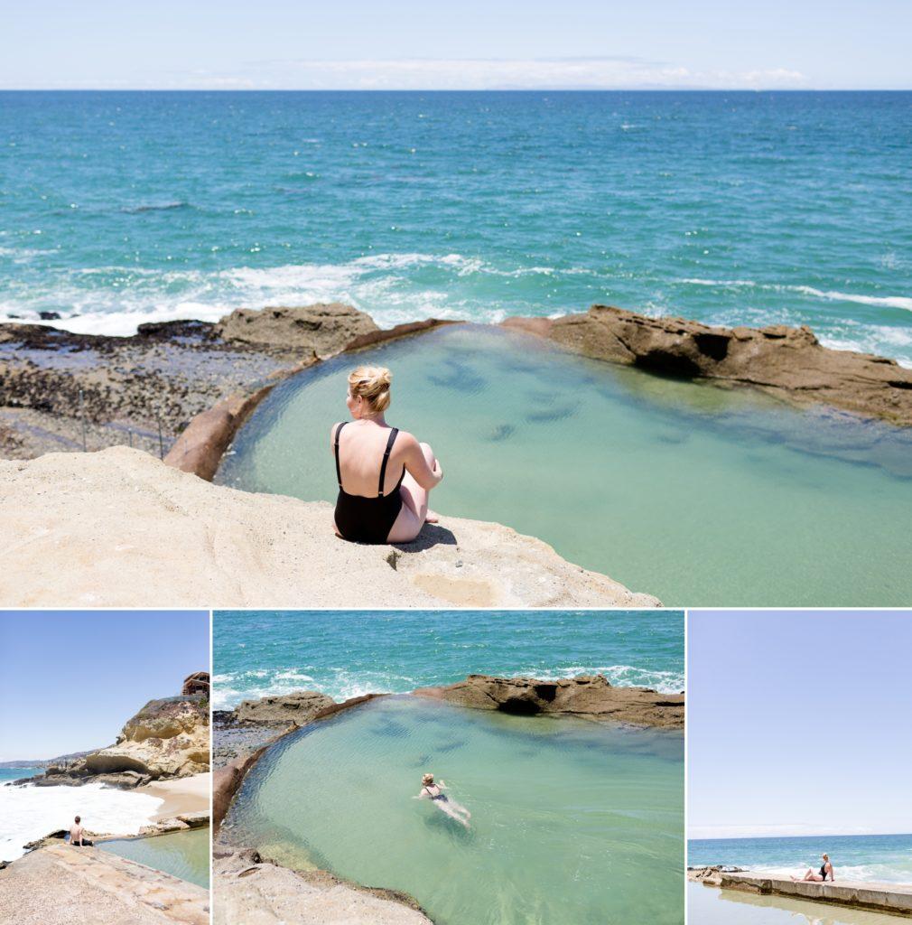 Swimming in natural pools Thousand Steps Beach Laguna Beach.