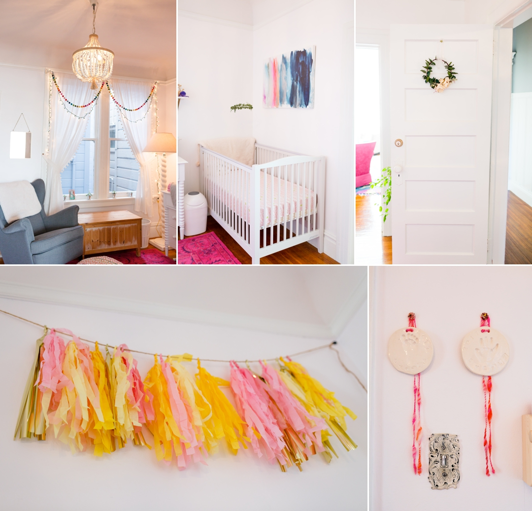 Detail photos of colorful fun baby girl nursery
